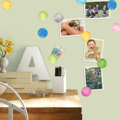 Watercolor Dots Peel and Stick Wall Decals roomset