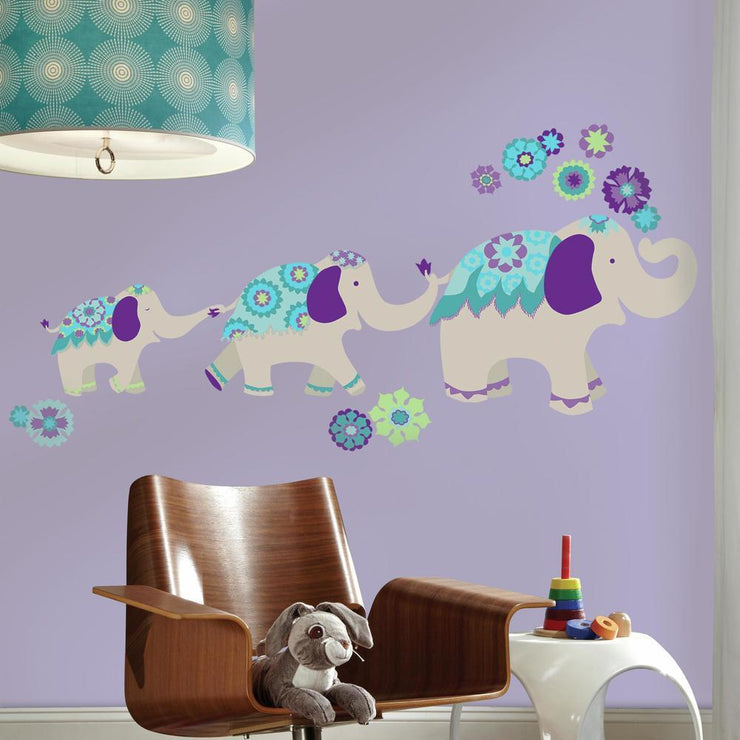 Waverly Teal & Purple Elephant Mega Wall Decals roomset