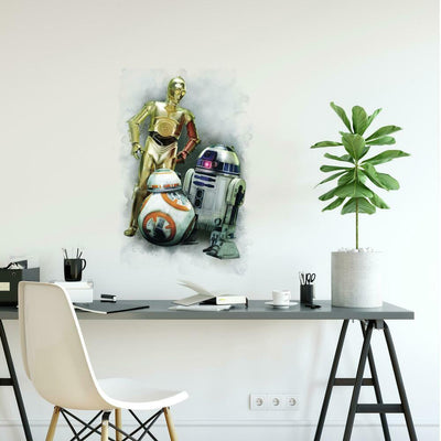 Star Wars VII R2D2, C3PO, BB-8 Peel and Stick Giant Wall Graphic roomset 2
