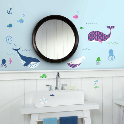 Sea Whales Peel and Stick Wall Decals roomset