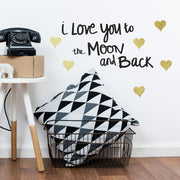 Love You To The Moon Quote Wall Decals With Foil roomset 3