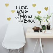 Love You To The Moon Quote Wall Decals With Foil roomset
