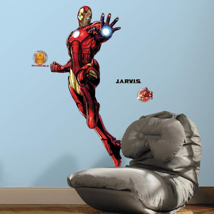 Iron Man Giant Peel and Stick Giant Wall Decals with Glow roomset