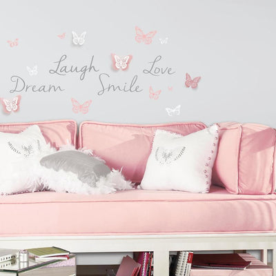 Butterfly Dream Peel and Stick Wall Decals w/ 3D Embellishments roomset