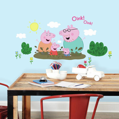 Peppa Pig and Family Muddy Puddles Giant Wall Decals roomset