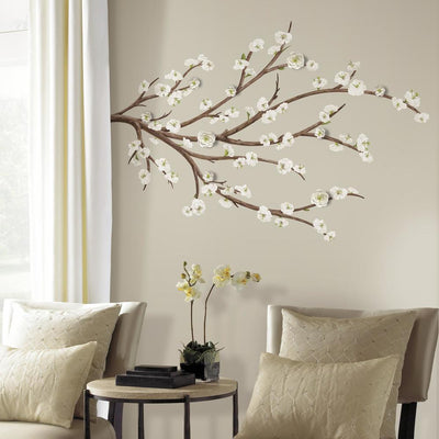 White Blossom Branch Giant Wall Decals With 3D Embellishments roomset