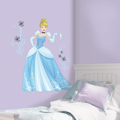 Disney Princess Cinderella Sparkling Giant Wall Decals With Glitter roomset