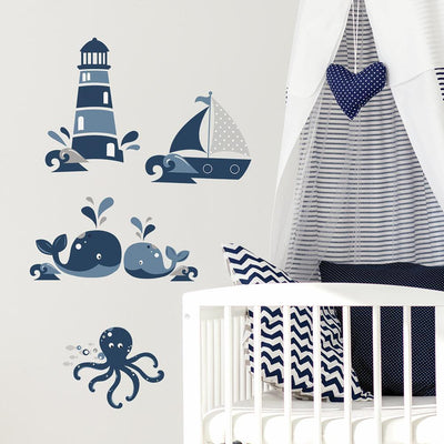 Nautical Sea Friends Peel and Stick Wall Decals roomset