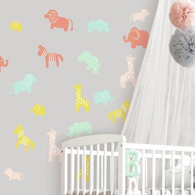 Little Explorer Animal Silhouette Peel and Stick Wall Decals roomset