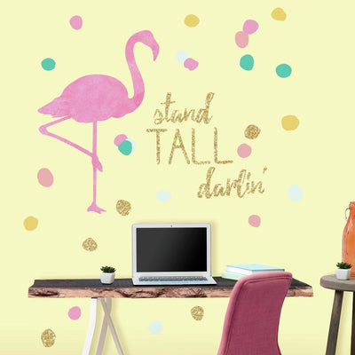 Stand Tall Flamingo Giant Wall Decals roomset