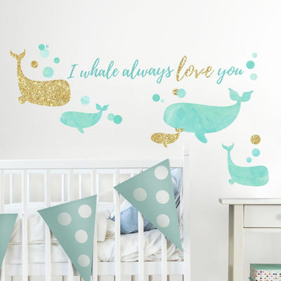 I Whale Always Love You Wall Decals with Glitter roomset