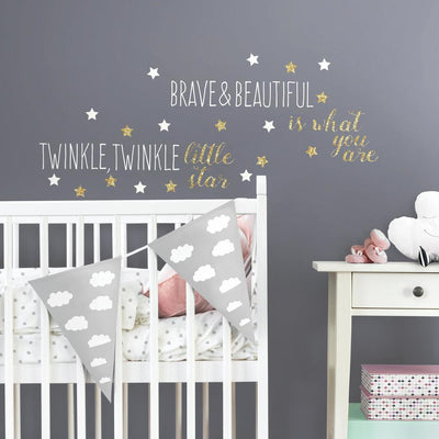 Twinkle Twinkle Little Star Wall Quote Decals with Glitter roomset