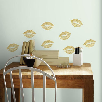 Lip Peel and Stick Wall Decals with Glitter roomset