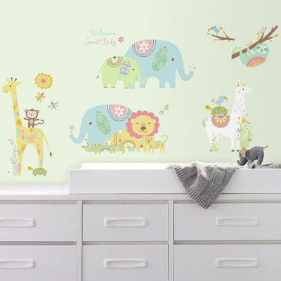 Tribal Baby Animal Peel and Stick Wall Decals roomset