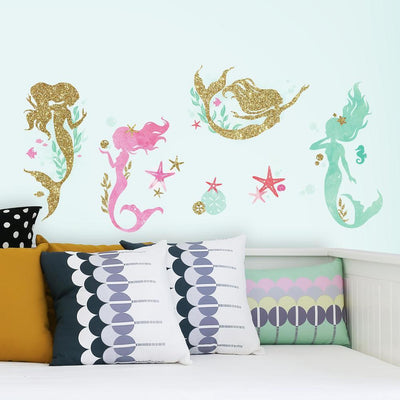 Mermaid Peel and Stick Wall Decals with Glitter roomset