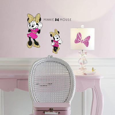 Minnie Mouse Peel and Stick Wall Decals with Glitter roomset