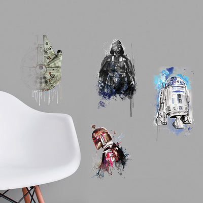 Star Wars Iconic Watercolor Peel and Stick Wall Decals roomset