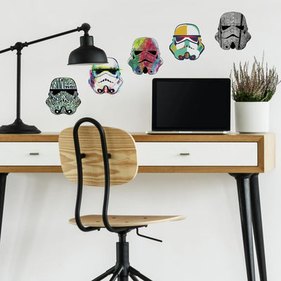Star Wars Artistic Stormtrooper Heads Peel and Stick Wall Decals roomset