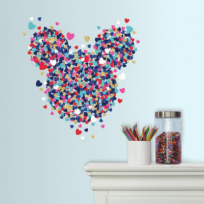 Minnie Mouse Heart Confetti Peel and Stick Giant Wall Decals with Glitter roomset