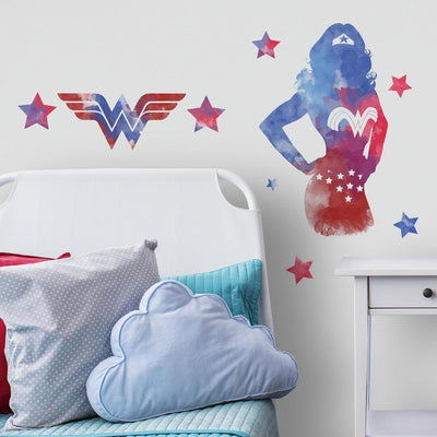 Wonder Woman Watercolor Peel and Stick Giant Wall Decals roomset