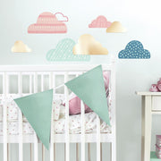 Wild and Free Cloud Peel and Stick Wall Decals with Mirrors roomset