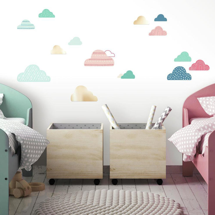 Wild and Free Cloud Peel and Stick Wall Decals with Mirrors roomset 2