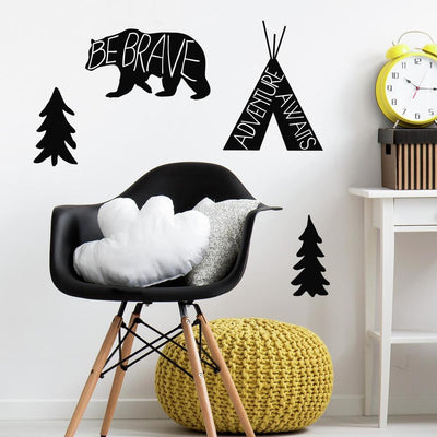 Black Adventure Awaits Animal Giant Wall Decals roomset