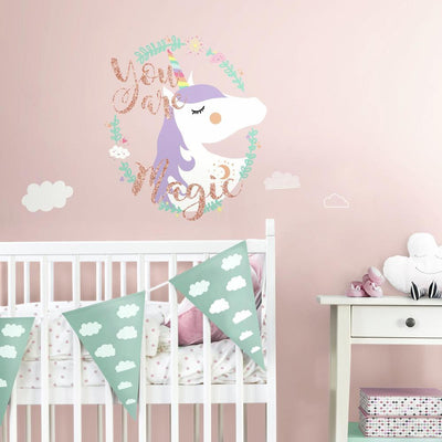 Unicorn Magic Peel and Stick Wall Decals with Glitter roomset