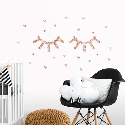 Eyelash Peel and Stick Wall Decals With Glitter roomset