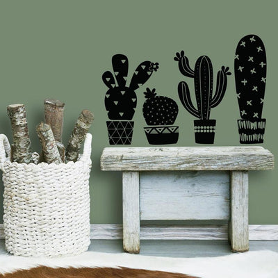 Geo Cactus Peel and Stick Wall Decals roomset