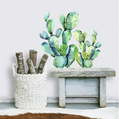 Watercolor Cactus Giant Wall Decals roomset