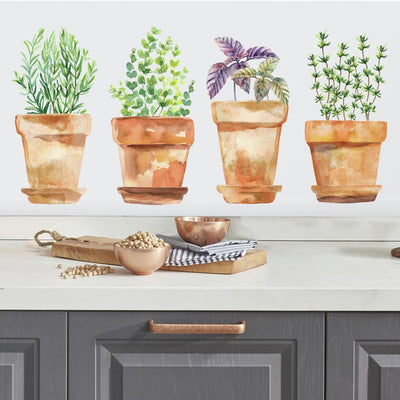 Watercolor Potted Herbs Peel and Stick Wall Decals roomset