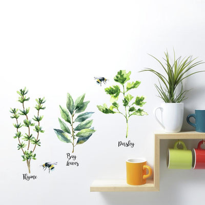 Watercolor Herb Peel and Stick Wall Decals roomset
