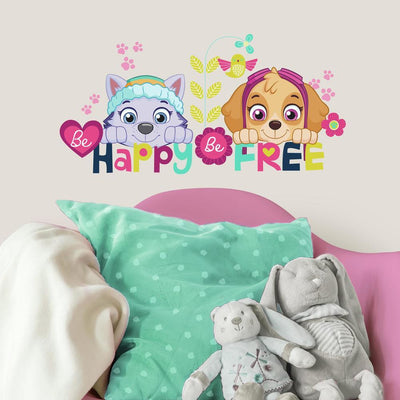 Paw Patrol Skye and Everest Be Happy Wall Quote Wall Decals roomset