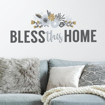 Bless This Home Floral Wall Quote Peel and Stick Wall Decals roomset