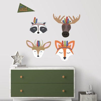 Sleepy Woodland Animals Giant Wall Decals roomset