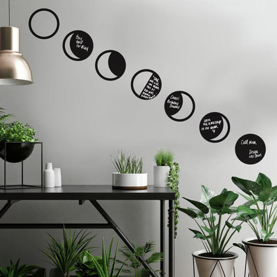 Phases of the Moon Chalk Peel and Stick Wall Decals roomset