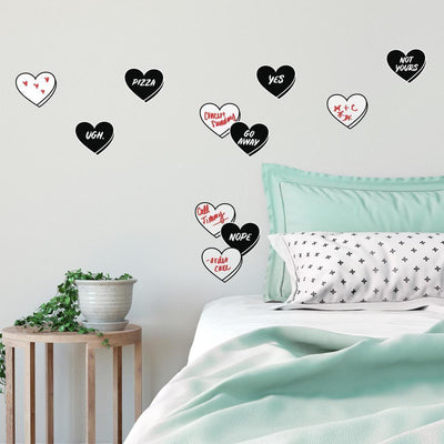 Real Talk Conversation Hearts Peel and Stick Wall Decals with Dry Erase roomset