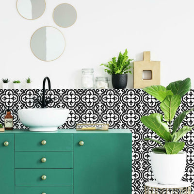 Ornate Tiles Black and White Peel and Stick Decals roomset