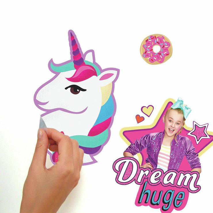 JoJo Siwa Cute and Confident Peel and Stick Wall Decals with Glitter peel