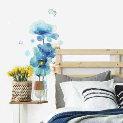 Blue Poppies Peel And Stick Giant Wall Decals roomset
