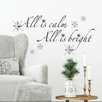 All is Calm, All is Bright Peel and Stick Wall Quote Decals with Glitter roomset