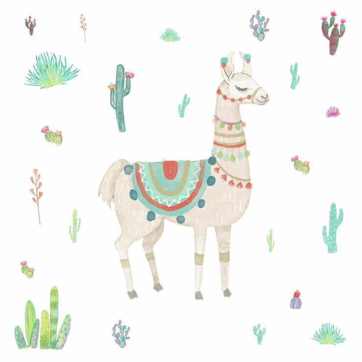 Watercolor Llama Peel and Stick Giant Wall Decals