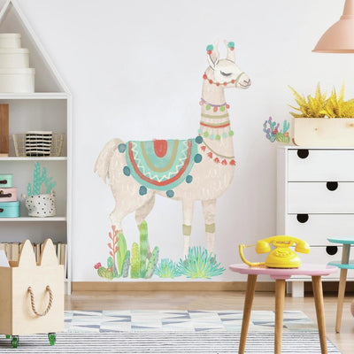 Watercolor Llama Peel and Stick Giant Wall Decals roomset