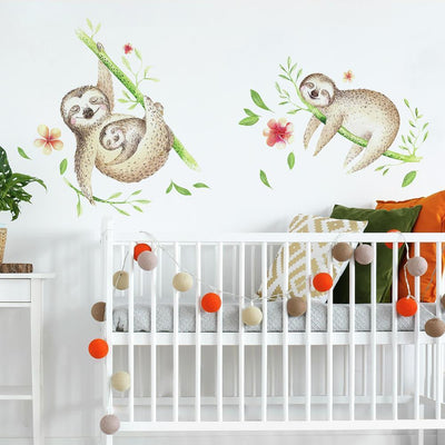 Lazy Sloth Giant Wall Decals roomset