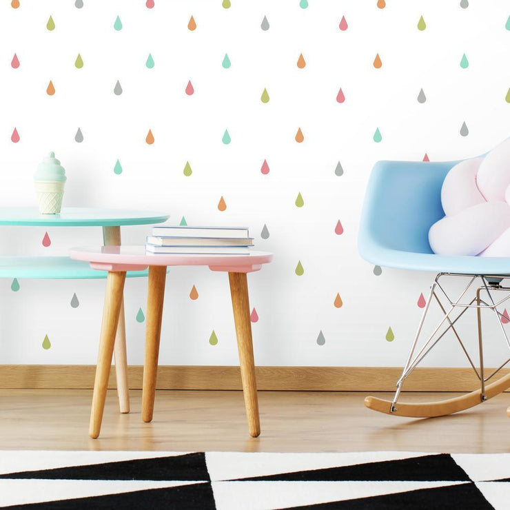 Pastel Raindrop Peel and Stick Wall Decals roomset
