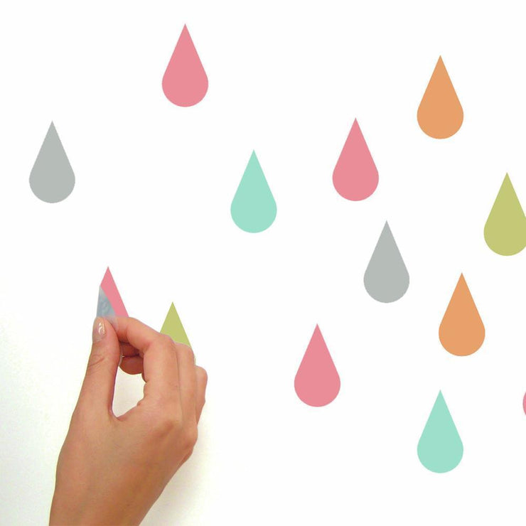Pastel Raindrop Peel and Stick Wall Decals peel