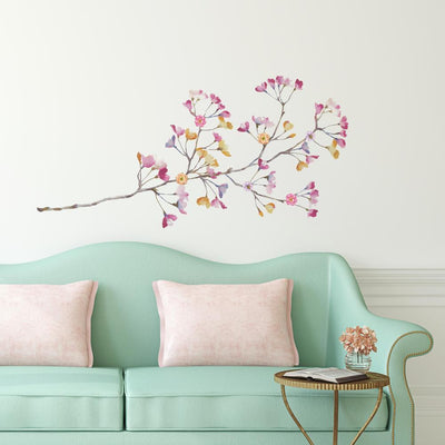 Pastel Flowers Branch Giant Wall Decals with 3D Embellishments roomset