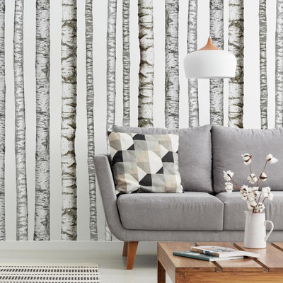 Realistic Birch Trees Peel and Stick Giant Wall Decals roomset