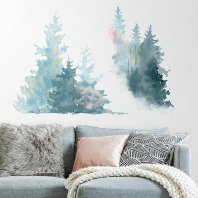 Watercolor Pine Tree Giant Wall Decals roomset